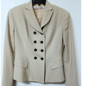 TAHARI Cream Check Print Suit Jacket